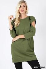 Ladies Cutout Sleeve Round Neck Tunic Length Sweatshirt Olive  M/L