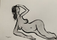 """M.Mercogliano Watercolor Painting Nude Abstract Figure Art 9x12"""" Drawing Signed"""