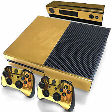 Gold Glossy Skin Sticker for Xbox One Console Controller Kinect Decal Vinyl