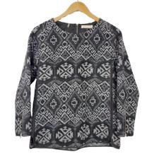 Rebecca Taylor Tribal Sweater Tunic Women's Size 4 Gray Black CrewNeck Shirt Top