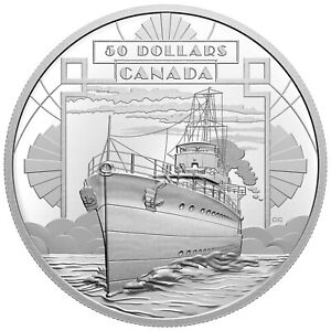 2021 Canada $50 100 Years Confederation Coming of Age Boat Ship 5 oz Silver Coin