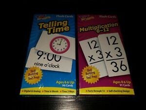Flash Cards Telling Time And Multiplication TREND NEW SEALED!