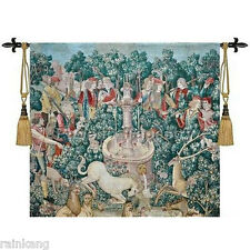 "Medieval Woven Fine Art Tapestry Wall Hanging 100% Cotton 39""x39"",Hunting"