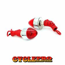 2 Chrome Bullet Red LED Aluminum License Plate Frame Tag Bolts For Motorcycle