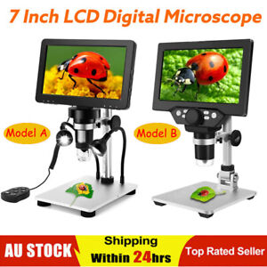 """7"""" 1080P LCD Digital Microscope 1200X Zoom Video Amplification Magnifier +Remote"""