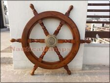 "Vintage Decorative Collectible 24"" Ship Wheel Pirate Wooden Brass Hub Wall Decor"