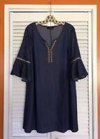 XL/1X/2X/3X New Blue Stretch Denim Peasant Top Dress Embroidered Trim Sundress