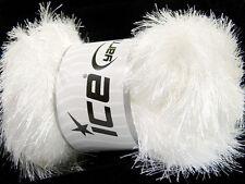 Lot of 4 x 100gr Skeins Ice Yarns EYELASH GLITZ Knitting Wool White