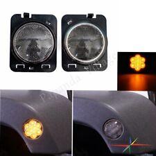 Smoke Amber LED Front Side Marker Parking Light For 2007-2017 Jeep Wrangler JK