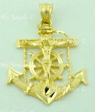 14k solid yellow gold JESUS CHRIST cross Anchor pendant Mariner #6087  5.30 gram