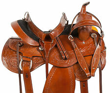 COMFY GAITED WESTERN PLEASURE TRIAL HORSE LEATHER SADDLE TACK SET 16 17 18