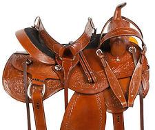 HIGH BACK COMFY WESTERN PLEASURE TRAIL BARREL HORSE LEATHER SADDLE TACK 16 17 18