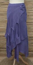 ZUZA BART*DESIGN HAND MADE PURE LINEN TWO LAYERS & 2 POCKETS SKIRT*VIOLET*Size L