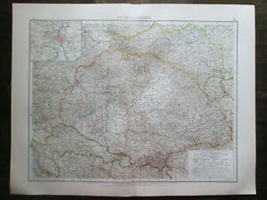 1898. HUNGARY & GALICIA. Antique BIG SIZE map.