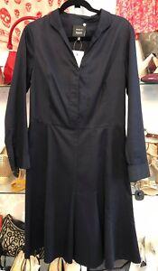 AKRIS Bergdorf Goodman Blue Cotton Long Sleeve Shirt Dress Sz 10 $2000+