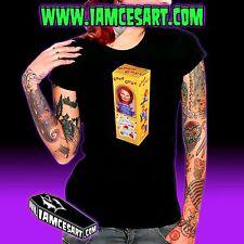 Good Guy Doll Women's Black 100% Cotton Tee Horror Chucky Child's Play iamcesart