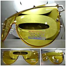 SPACE ROBOT FUTURISTIC CYBER CYCLOPS SHIELD PARTY SUN GLASSES Yellow Flat Lens