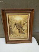 Idell Ellingwood Original Oil Painting Signed Framed 1974 Cabin in the Woods
