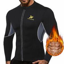 Mens Slimming Vest Shirt Jacket Long Sleeve Fitness Tight Weigh Loss Body Shaper