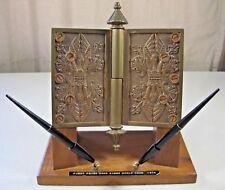 1876 Antique Brass Prize Door Hinge World Fair Wood Base Pens Fred Morgan Kirby