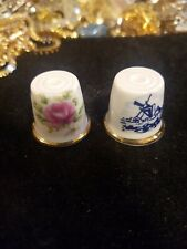 Lot Of 2 Thimbles Ceramic Made In Japan One Rose Other Oil Rig?