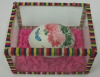 Vintage Hand Painted Real Egg Butterfly & Flowers in Glass Display Box