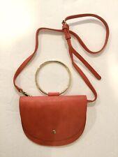 Gold Ring Crescent Satchel Red Leather? Crossbody Bag Purse Handbag NWOT