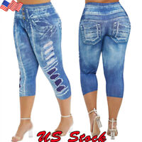 US Womens Capri High Waist Skinny Jeans Denim Pants Jeggings Trousers Plus Size