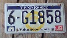 1976-82 Tennessee License Plate 6-G1858 Washington County 1982 Sticker Metal