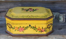 Shabby Chic Roses Memory Keepsake Tea Box Painted to Look Old Yellow