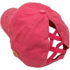 C.C Ponytail Criss Cross Messy Buns Ponycaps Baseball Cap Hat Button Hook Pink