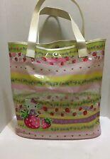 SANRIO Hello Kitty Tote Shopper Bag Lg. PVC with Appliqué Pastel Strawberries