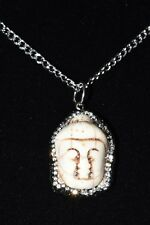 "White Howlite Buddha Pendant Necklace Rhinestones Stainless Steel Chain 24"" Long"