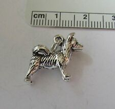 Sterling Silver 3D 16x17mm Solid Akita Husky Malamute Border Collie Dog Charm