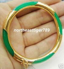 Emerald Green Jade 18KGP Clasp Bangle Bracelet
