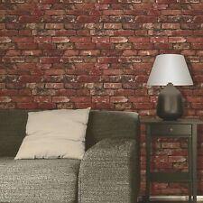Rustic Brick Effect Wallpaper 10m Red Fine Decor FD31285