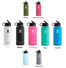 Hydro Flask_32oz Wide Mouth Water Bottle Stainless Steel Insulated w/ Straw Lid