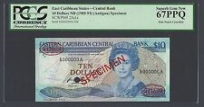 East Caribbean 10 Dollars ND (1985-93) P23a1s Specimen TDLR  Uncirculated