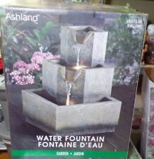 Ashland Water Fountain Garden Grey Resin LED Textured Indoor Square 3 tier
