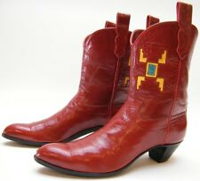 AMMONS HANDMADE RED SHORT SOUTHWESTERN INDIAN LEATHER COWBOY WESTERN BOOTS 8.5 A