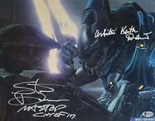 Steve Downes Keith David MASTER CHIEF ARBITER SIGNED 11x14 Photo BECKETT COA 40