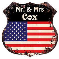 Bp0238 America Flag Mr. & Mrs Cox Family Name Sign Home Chic Decor Gift