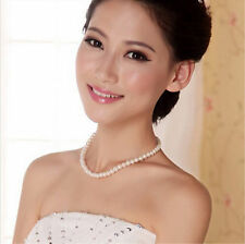 Laides Girls White 8mm Pearl Beads Elegant Wedding Bridal Choker Necklace Chain