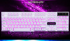 US Rajfoo White 3 Colors Backlit Cyborg Soldier Illuminated Usb Gaming Keyboard