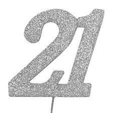 21 Glitter Number on a Pick - 21st Birthday Anniversary Cake Decoration Topper