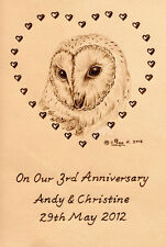 "Personalised Barn Owl Bird 3rd Wedding Anniversary 6"" x 4"" Leather Artwork"