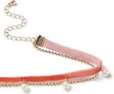 MISS SELFRIDGE Pearl Drop Pink Fabric Velvet Choker