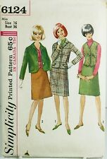 Simplicity 6124 Vintage Sewing Pattern Misses Suit & Vest Plus Size 16 Business