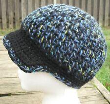 Woolen Mix Blue/Black/Green Crocheted Beanie with a Visor - Handmade by Michaela