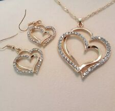 Double Heart  Romantic Crystal Earrings and Necklace set Gold toned